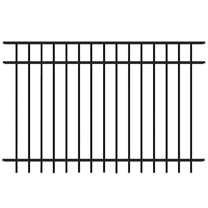 Powder Coated Flat Top Steel Picket Fence For Pool And School Child Safety
