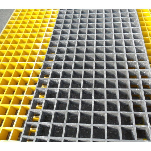 Yellow Fiberglass Reinforced Grating FRP Flooring Decking Walkways 1 Year Service