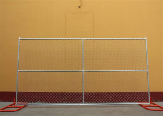 Anti Rust Freestanding Chain Link Fence Panels , Chain Link Construction Fence 6ft Height