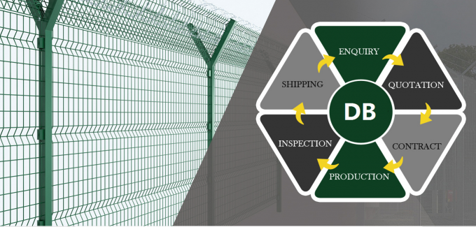 wire mesh fence with post powder coated green